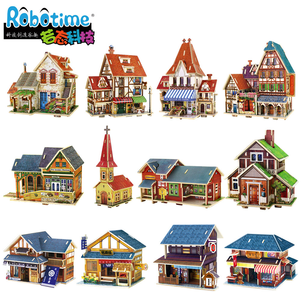 Beaty World Building Puzzle 3D DIY Wooden Norway Construction Puzzle Norway Railway Station Church Shop Folk House Model