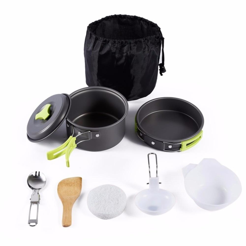 Nueva 8 piezas portátil herramienta de cocina al aire libre Picnic barbacoa cacerola taza plato Set vajilla de acero inoxidable cubiertos Camping Cookware conjunto