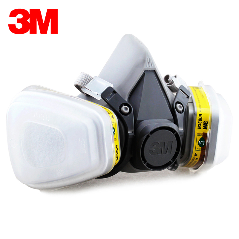 3M 6200+6003 Half Facepiece Reusable Respirator Organic Mask Acid Face Mask Organic Vapor&Acid Gas 7 Items for 1 Set LT101 3m 7501 6005 half facepiece reusable respirator mask formaldehyde organic vapor cartridge 7 items for 1 set xk001