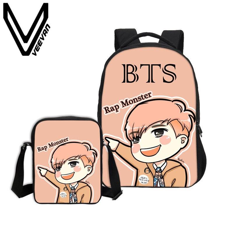 VEEVANV Brand 2017 BTS Combination Book Packages 3D PU Prints Chirldren Backpacks BTS Pattern Book Bags Student Study Backpacks