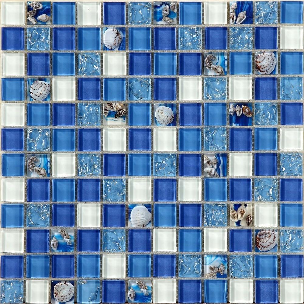 naravna morska lupina v modri stekleni mozaični ploščici 12x12 - Dekor za dom - Fotografija 3