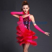 Dress + Gloves Neck Earrings Underpants Latin dance dress ballroom woman top latin tango fringe gold sequin