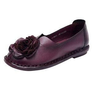 Image 2 - GKTINOO Casual Genuine Leather Flat Shoe Women Shoe Flower Slip On Driving Shoe Female Moccasins Women Flats Lady Shoes