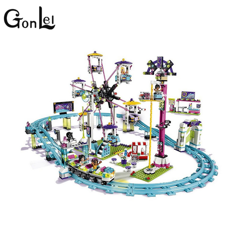 GonLeI BELA10563 Friends series the Amusement Park Roller Coaster Model Building Block set Compatible with lepin toys new 7033 friends series the city park cafe pirate ship model building block classic girl toys compatible with lepin