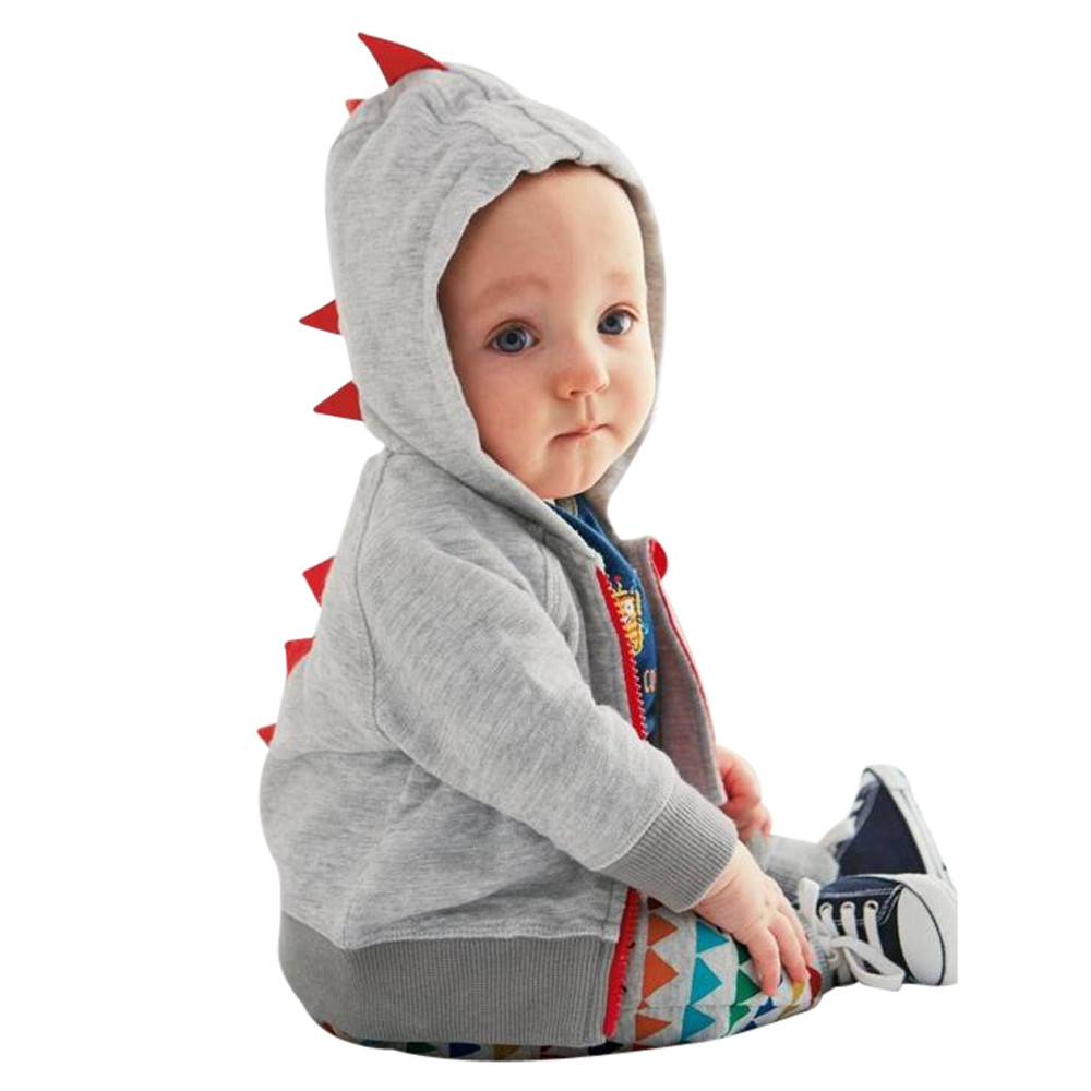Infant Toddler Baby Boy Girl Dinosaur Pattern Hooded Zipper Tops Clothes Coat