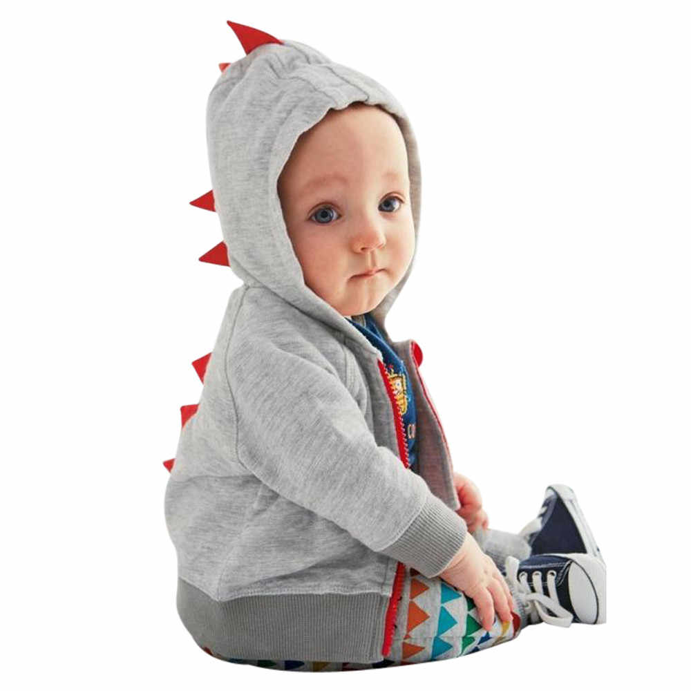 Toddler Baby Boys Girls Dinosaur Pattern Zipper Jacket Coat Outerwear Clothes