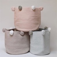 Nordic Cotton Rope Woven Storage Baskets With Pompom Large Dirty Clothes Laundry Basket Kids Toy Storage Bin Sundries Organizer