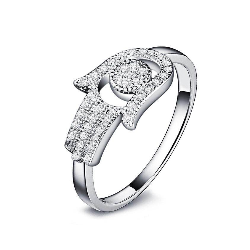 OMYFUN Real 925 Anel de Prata Esterlina Hamsa Mão de Fatima Jóias anel de prata Anéis De Prata com CZ Micro Pavimentada moda Jóias