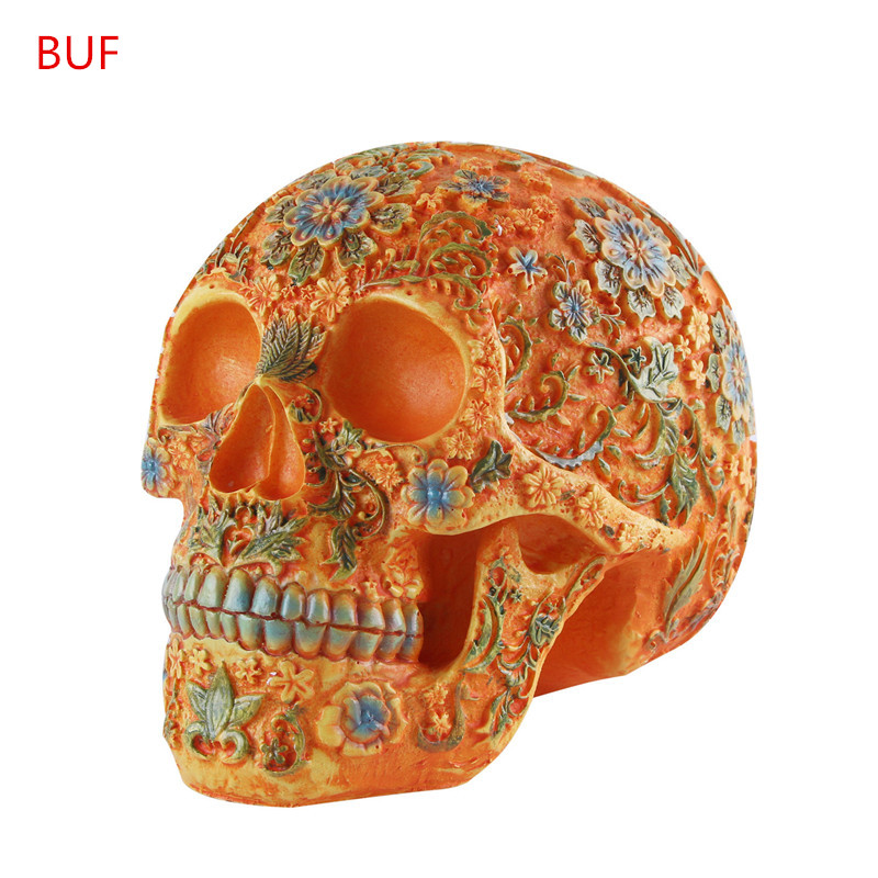Color Skull Ornaments Resin Craft Halloween Decoration Skull Statues Creative Bar Decoration Skull Statue Statues & Sculptures