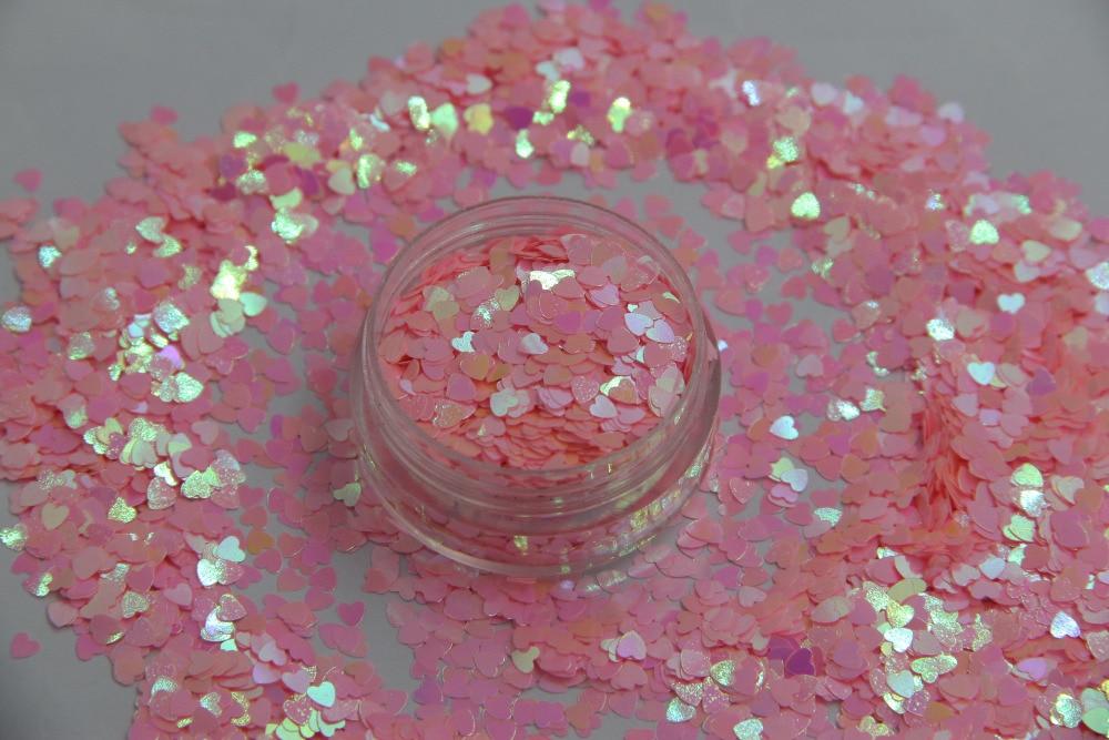 HI-7 Heart  shapes Pearlescent Iridescent Pink Colors confetti spangles glitter for nail Art  DIY decoration 1pack=50g портативная акустика hi fun hi bomb 2 pink