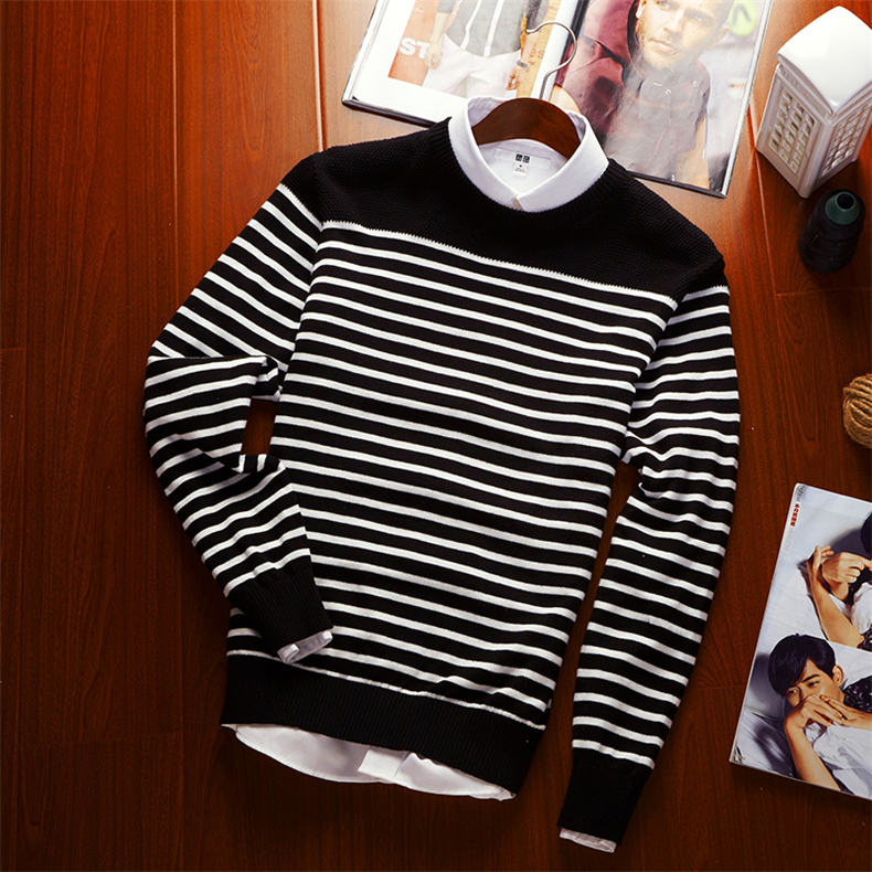MuLS 2019 Spring Knit Sweater Men Pullover Striped Sweater Jumpers Autumn Male Cotton knitwear Youth Blue Black Grey Size M-3XL 8