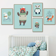 Cute Bear Panda Fox Rabbit Owl Animals Nordic Posters And Prints Wall Art Canvas Painting Nursery Pictures Kids Room Decor