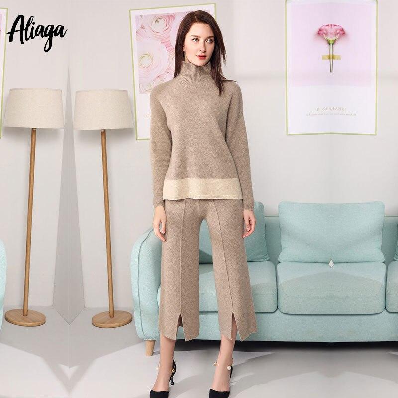 Качество 100% кашемир комплект из 2 предметов свитер осень зима женщина Вязаный Водолазка женские брюки с широкими штанинами толстый вязаный