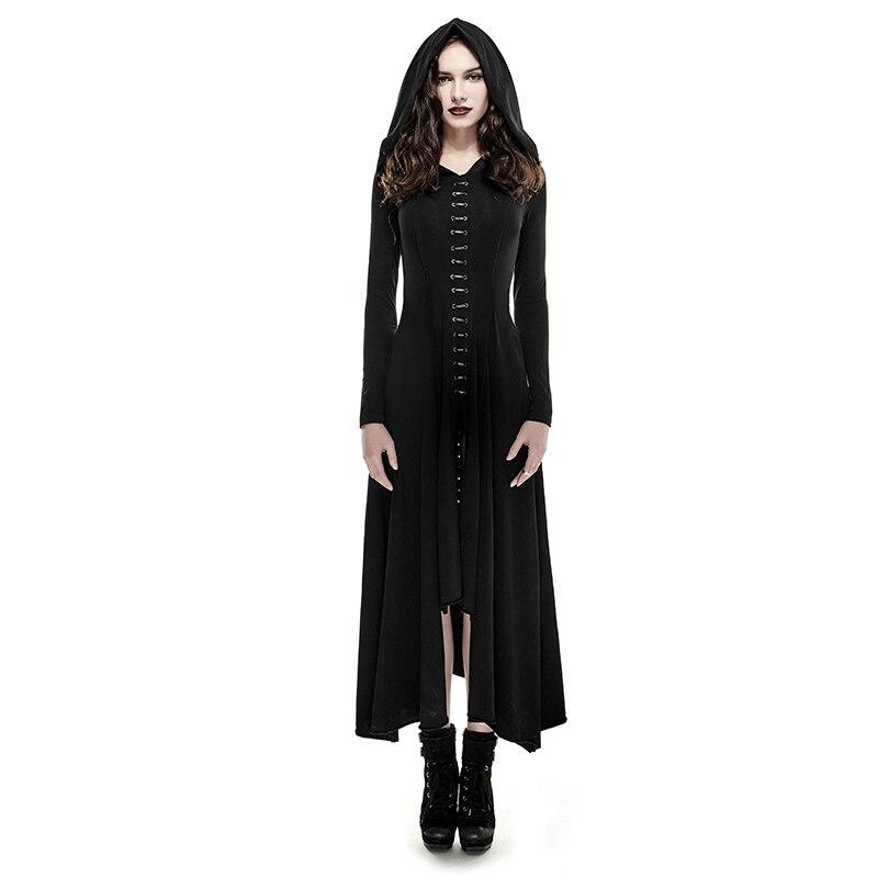 Punk Gothic Women Retro Knitted Slim Long Dress With Hooded Black Regular Sleeve Evening Women Dresses