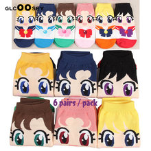 Носки женские хлопковые с мультяшным рисунком, милые невидимые тапочки-лодочки для девушек, летние короткие, кавайные, 6 пар
