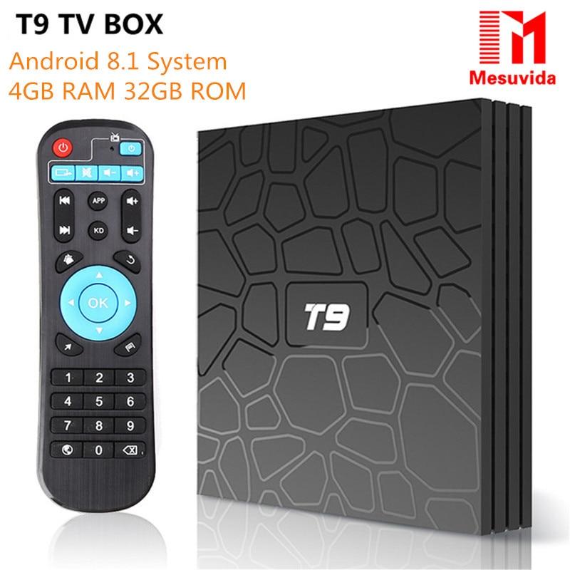 T9 TV Box Android 8.1 RK3328 Quad Core 4g/32g USB 3.0 di Smart 4 k Set Top box Opzionale 2.4g/5g Dual WIFI BT4.0 PK Xiaomi X96 Tanix