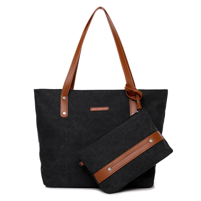 2 in 1 Fresh Girls Handbags High Quality Canvas Shoulder Tote Bag Lady Casual Composite Bag Sets Women Totes Bags 2016 high quality pu women bag fashion handbags fresh totes cross body bag shoulder bags