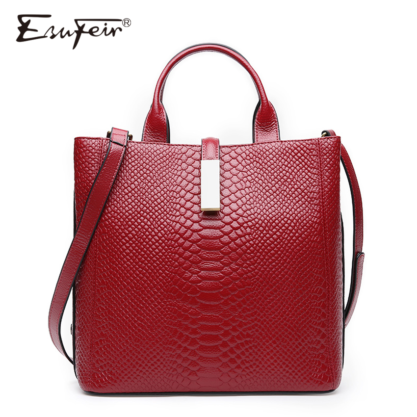 ESUFEIR Genuine Leather Handbag For women Cow Leather Serpentine Embossed Shoulder Bag Famous Brand Women Bag Casual Tote Bags women crocodile embossed bag handbags 100% genuine cow leather for women handbag flaps shoulder tote messenger bag famous brands