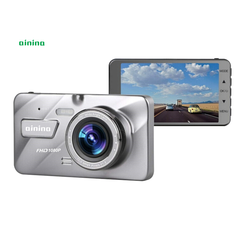 Ainina Dual lens Car camera recorder IPS 4 inch screen FHD 1080P Dashcam 153 degree wide angle view night vision vehicle dvrs in DVR Dash Camera from Automobiles Motorcycles