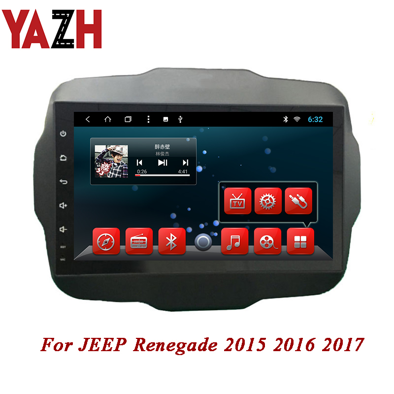 YAZH Android Car Gps Navigation 1 DIN head unit System for JEEP Renegade 2015 2016 2017