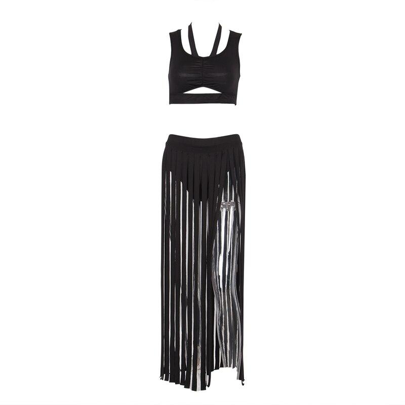 Women Summer fashion Casual beach style tassels skirt set sleeveless backless hollow out short top sexy tassels skirt 2pcs set