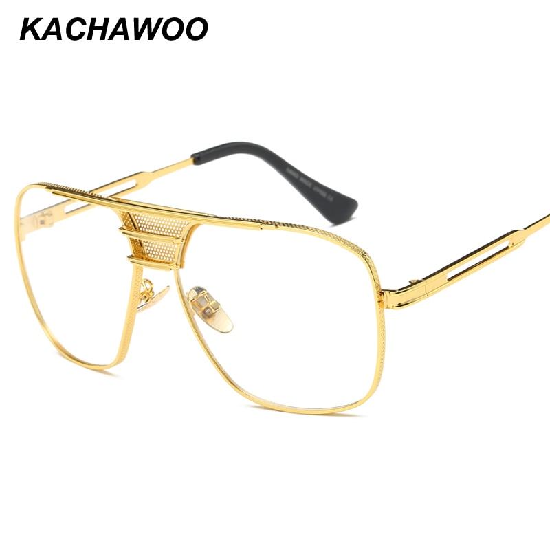 59e9c0282bb Kachawoo square eyeglasses frames men accessories fashion high quality  metal frame clear lens gold glasses frames male
