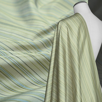 Yarn Dyed Pure Silk Dupion Fabric Unique Grass Green Striped Sculpture Shinny Sewing Dress Shirt Home