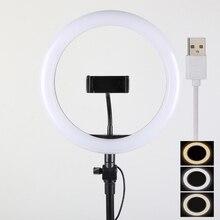 10 дюймов 25 см USB зарядка Новое селфи кольцо Вспышка светодиодная камера телефон фотография повышение фотографии для смартфона студия VK