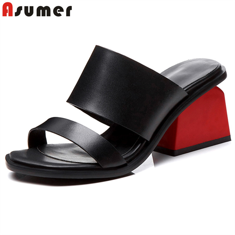 ASUMER Women Sandals Wedding-Shoes Square High-Heels Genuine-Leather New-Fashion Ladies