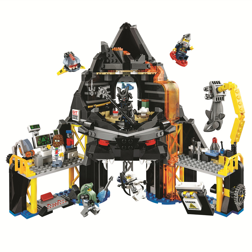 11.11 PRE-ORDER Ninjagoed Garmadon's Volcano Lair Building Blocks Kit Ninja Classic Movie Model Kids Toys Compatible Legoings 890pcs new ninja lair invasion diy 10278 model building kit blocks children teenager toys brick movie games compatible with lego