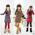 New arrival Children's clothes Little Fawn Stripe Dress Girl's suit /2pcs Long sleeve dress+Leggings Girl's Set free shipping