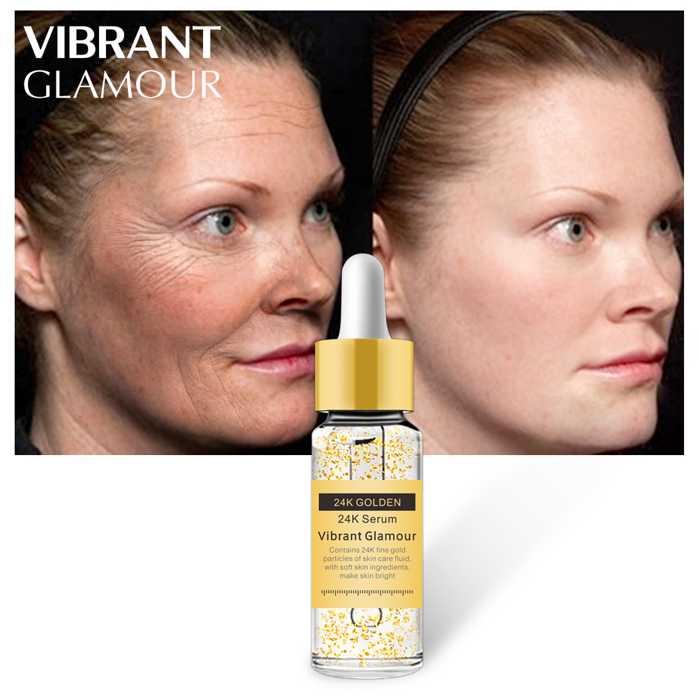 VIBRANT GLAMOUR Gold 24K Serum Anti-wrinkle Firming Whitening Essence Anti-aging Face Serum Moisturizing Brighten Skin Care Skin 200ml ageless face nano gold anti wrinkle gel firming skin anti aging skin care products wholesale