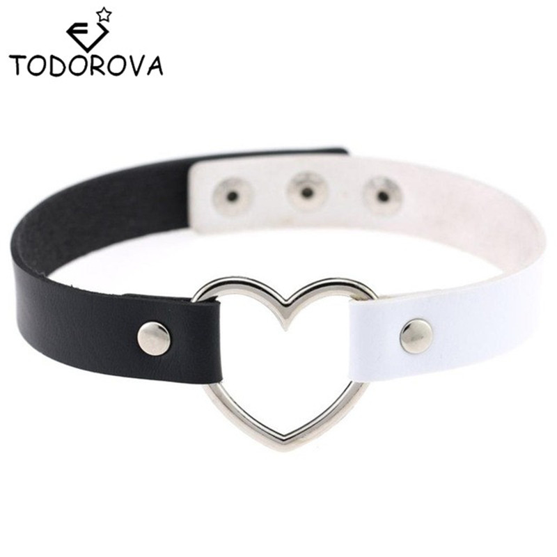 Todorova Hot Sale Sexy Punk Gothic Leather Choker Necklace Heart Studded Spike Rivet Buckle Collar Funky Torques Jewelry