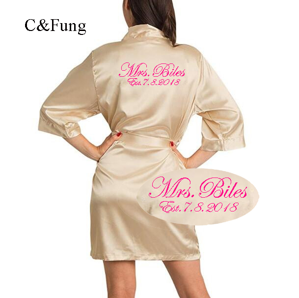 01f2d3e37b C Fung Personalized Satin silky Bride Robe Mrs gown wedding date print  Peignoir bridal shower gifts Dress
