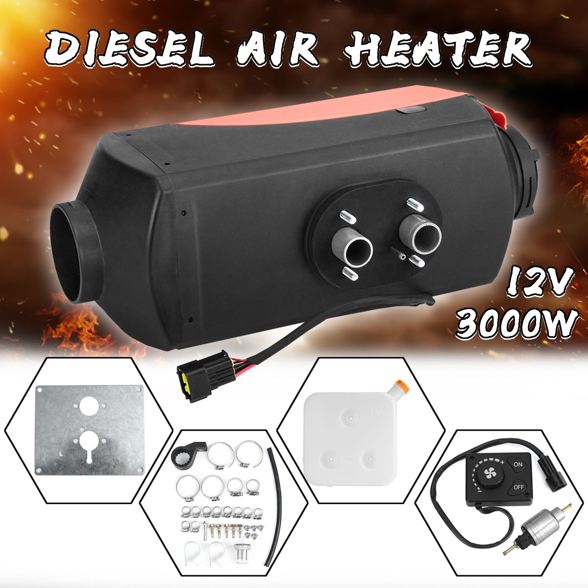 3000W 12V air parking heater diesel air heater in car Single Hole fit for almost all commercial vehicles alcohol use among drivers of commercial vehicles in calabar nigeria