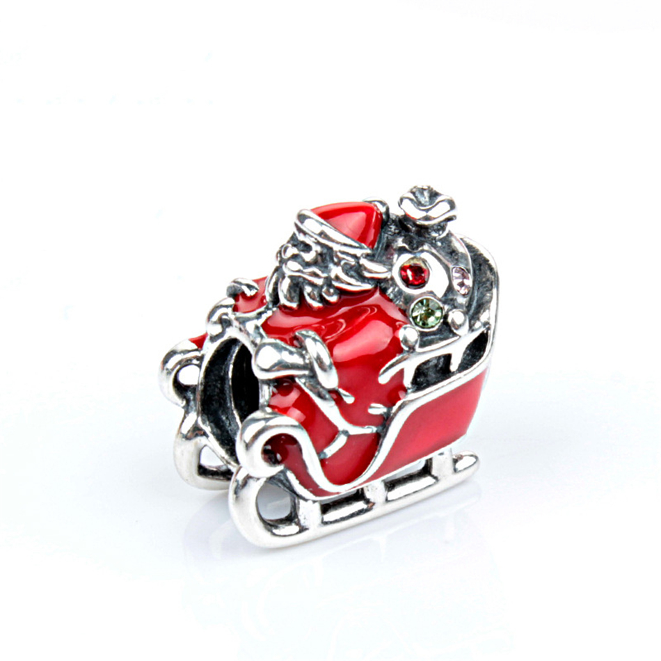 Cheap Sale Winter Collection Red Enamel 925 Real Silver Sleigh Man Charm Fitting European Famous Brand Silver Bracelet Home & Garden