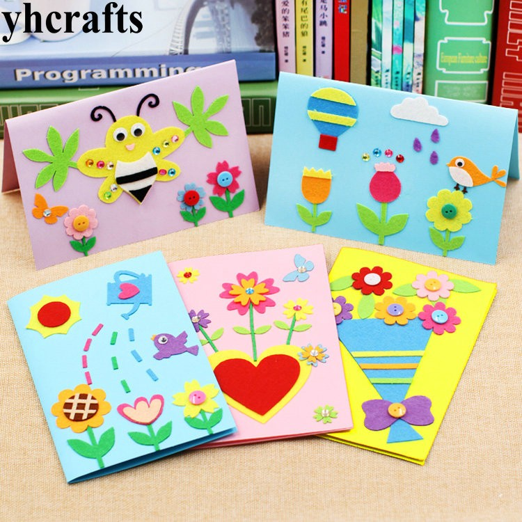 5pcslot5 design felt 3d greeting cards craft kits with