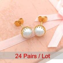 24 пары золотых жемчужных серьги для женщин oorbellen parel