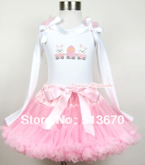 Light Pink Pettiskirt with Bunny Rabbit Egg Print White Long Sleeve Top with Light Pink Ruffles & White Bow MAMW196