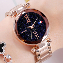 цены Shiny Rose Gold Ladies Watches Luxury Starry Sky Stainless Steel Personality Watch Roman Numerals Women Quartz Clocks bayan saat