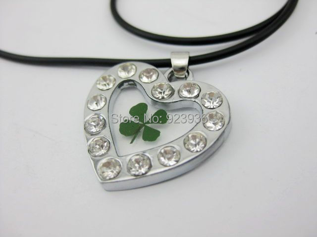 12 PCS Lucky Four Leaf Clover Heart shape white stone necklace