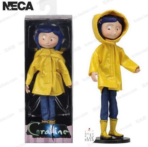 NECA Children's toys Coraline & the Secret Door dolls, action figure 7 inch raincoats VERSION Caroline Girl Christmas Present coraline