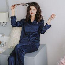 Silk Pajamas For Women Satin Sets Long Sleeve Sleepwear 2 Pcs Nightwear All Season Pyjamas Homewear Pijama Mujer