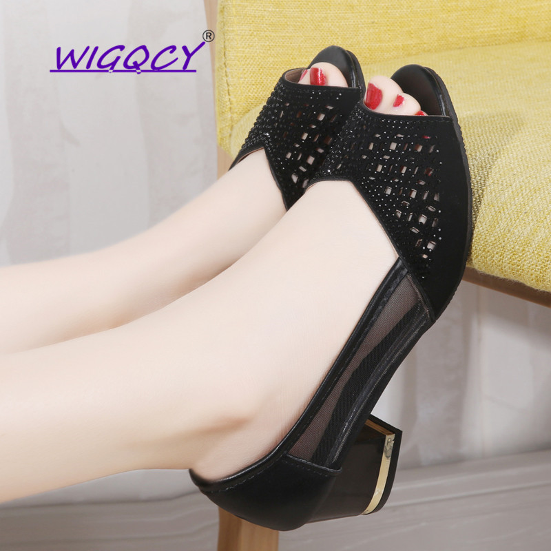 Summer Woman Pumps Bling Open Toe High Heels Hollow Out Women Sandals Dress Shoes OL Office Square Heel Mujer Ladies Shoes