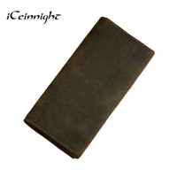100 Genuine Leather Bag Long Size Cowhide Purse Real Mens Wallet Leather Genuine Vintage Man Bag