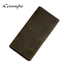 ICeinnight 100% подлинная кожаная сумка С Длинным Размер Коровьей Кошелек настоящее мужская кожаный бумажник подлинной старинные человек мешок multi-card бумажник