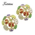 Korean Costume Jewelry Cute Flower Small Earrings Colorful Enamel Ladybug Stud Earrings for Women Catkins Les Nereides Jewelry