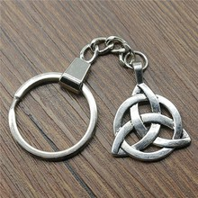 2 Colors Antique Bronze Silver 35x27mm Triquetra Symbol Keychain New Fashion Handmade Metal Key Ring Party Gift