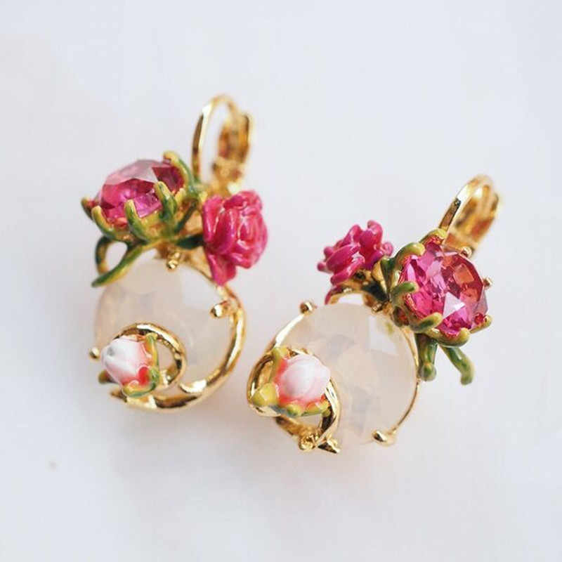 2018 Amybaby Designer Handmade Enamel Glaze Pink Flower Rosebud Necklace No Piercing Drop Earring Adjustable Ring Bracelet
