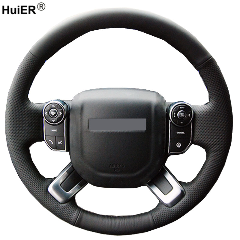 HuiER Hand Sewing Car Steering Wheel Cover Microfiber For Land Rover Discovery 5 2017 2018 Ranger Rover 2013-2015 2016 2017 2018